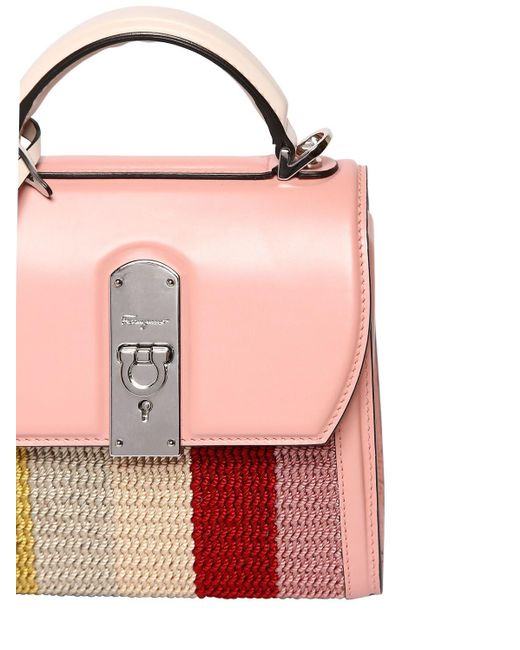Ferragamo Boxyz レザートップハンドルバッグ Pink