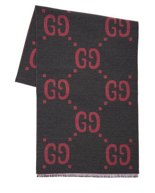 Шарф Из Шерсти И Шёлкового Жаккарда Gucci, цвет: Pink