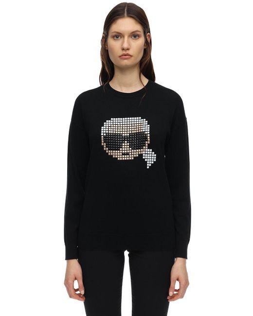 Karl Lagerfeld Pixel Karl コットン&モダールスウェットシャツ Black