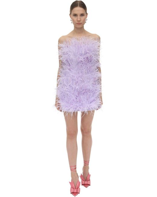 The Attico フェザーミニドレス Purple