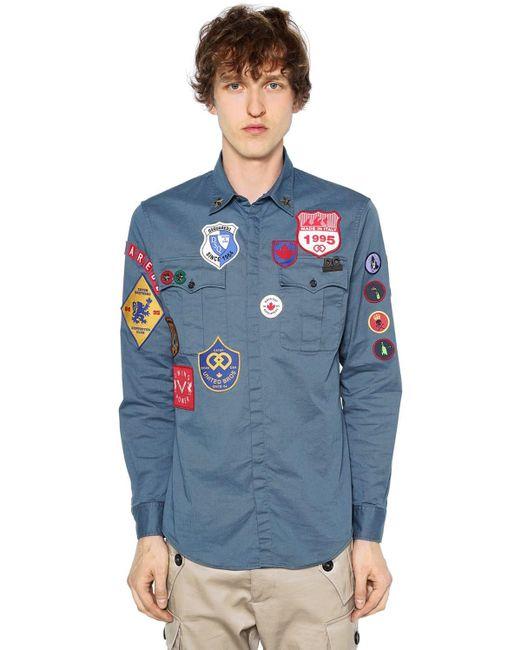 DSquared² Militaryhemd Aus Stretch-baumwolltwill in Blue für Herren