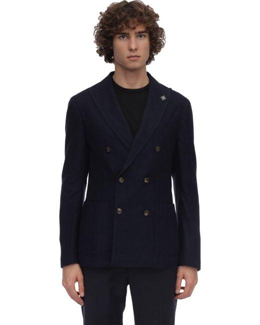 メンズ Lardini ウール混ニット ダブルブレストジャケット Blue