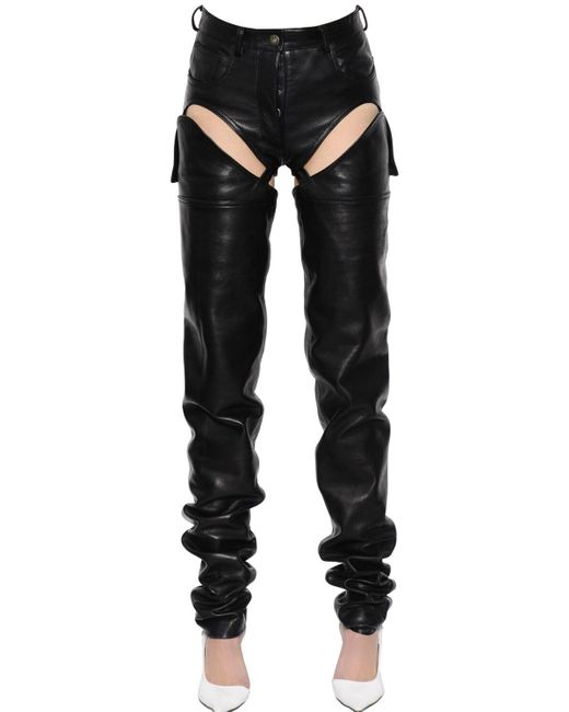 Y. Project Black Cutout Transformer Leather Pants