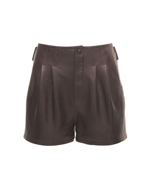 Кожаные Мини Шорты Saint Laurent, цвет: Brown