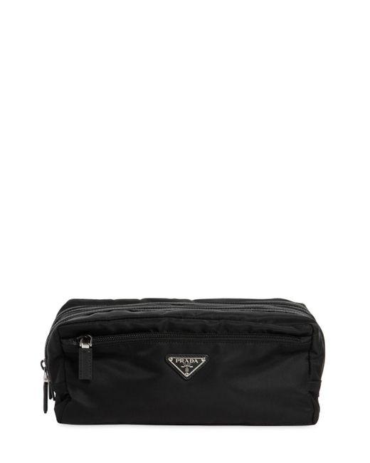 6799d36b6ed ... Prada - Black Dual Compartment Nylon Toiletry Bag for Men - Lyst ...