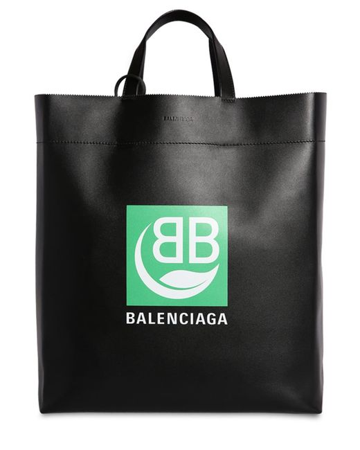 Balenciaga Black Md Market Logo Printed Leather Tote Bag
