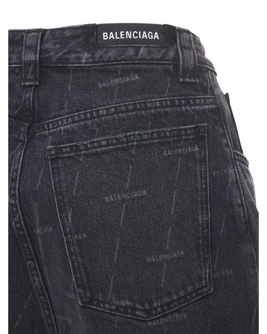 Balenciaga Blue Skate-shorts Aus Baumwolldenim Mit Logo