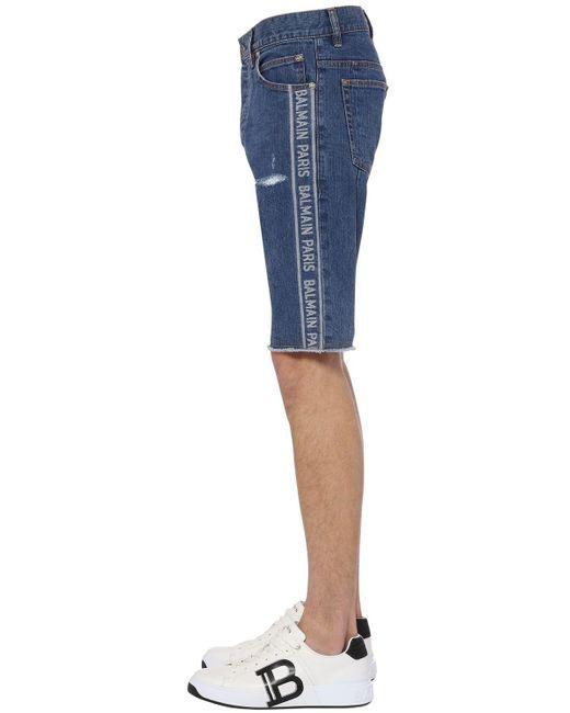 メンズ Balmain ジャカードデニムハーフパンツ 21cm Blue