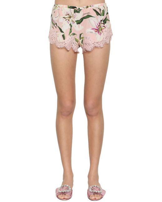 Шорты Из Кружева Стретч Dolce & Gabbana, цвет: Pink
