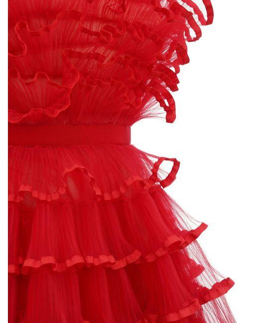 Giambattista Valli フリルチュールドレス Red