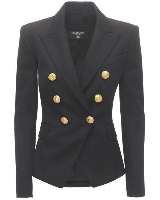 Двубортный Пиджак Из Шерстяной Саржи Balmain, цвет: Black