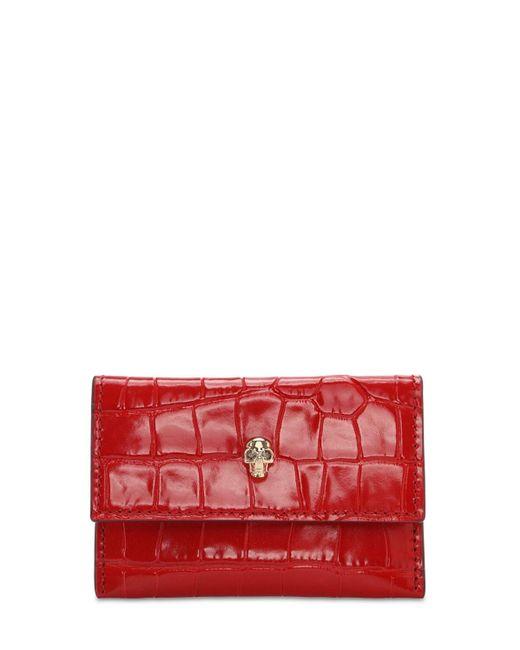Кожаная Кредитница С Крокодиловым Тиснением Alexander McQueen, цвет: Red