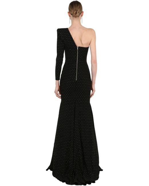 Robe Longue En Crêpe Avec Cristaux Alex Perry en coloris Black