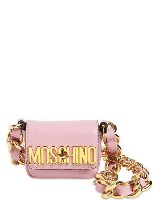 Moschino レザーショルダーバッグ Pink