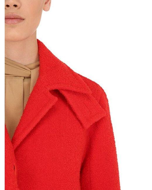 Cappotto In Misto Lana Vergine Bouclé di Victoria Beckham in Red