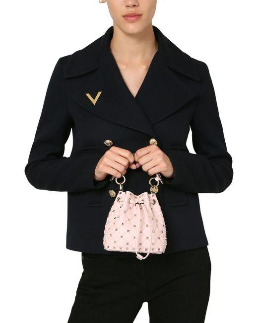 Valentino Rockstud Spike レザーバケットバッグ Pink
