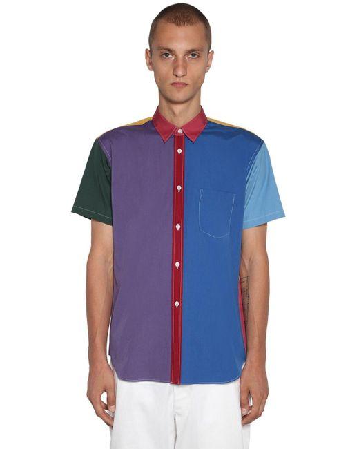 メンズ Comme des Garçons パッチワーク コットンポプリンシャツ Blue