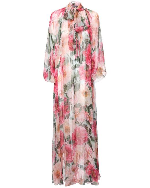 Dolce & Gabbana Camelia シアーシルクカフタンドレス Pink