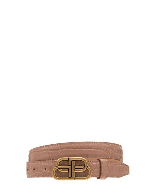 Balenciaga Bb クロコエンボスレザーベルト 3cm Natural