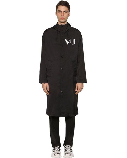 メンズ Valentino Vu ナイロン ロングコート Black