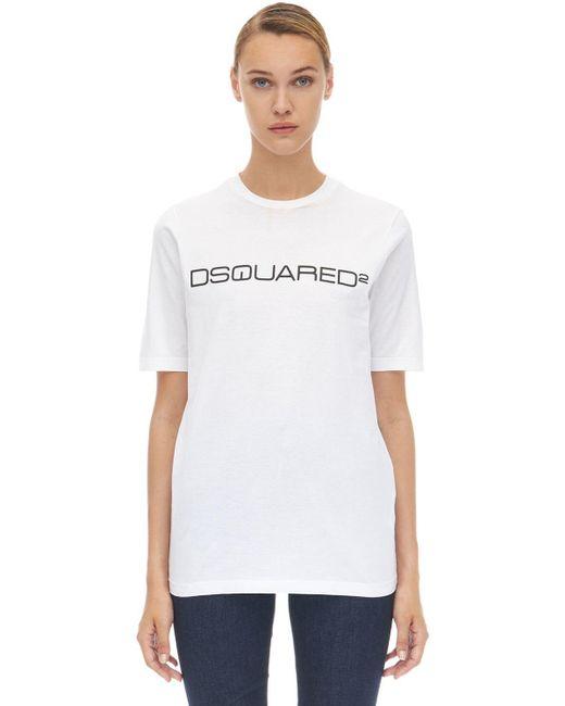 DSquared² ロゴ コットンジャージーtシャツ White