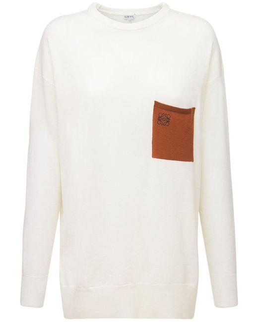 Loewe ウールニットセーター White