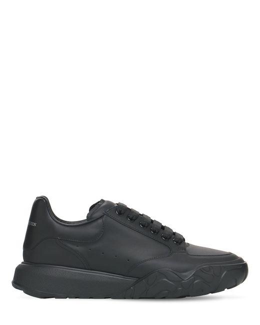 Кожаные Кроссовки Alexander McQueen для него, цвет: Black