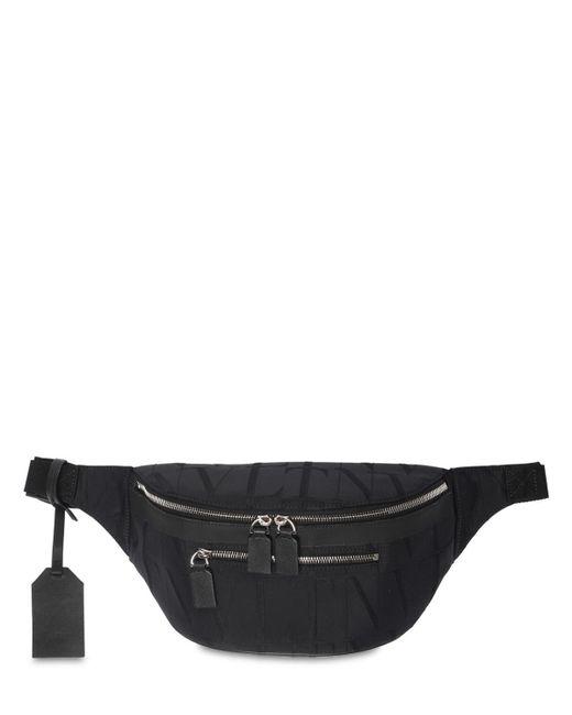 メンズ Valentino Garavani ナイロンジャカードベルトバッグ Black