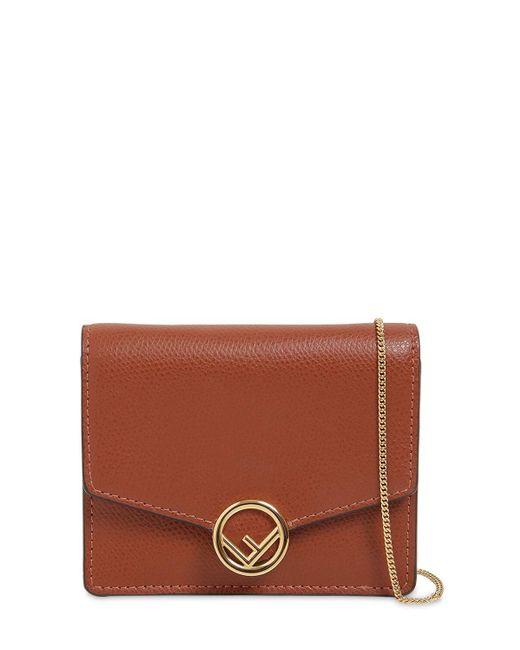 Fendi Brown Micro Leather Card Holder Bag