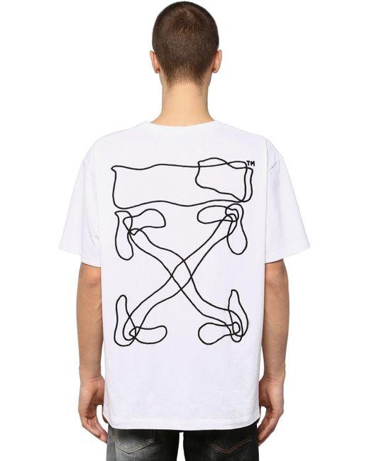 メンズ Off-White c/o Virgil Abloh プリント&刺繍 コットンtシャツ White
