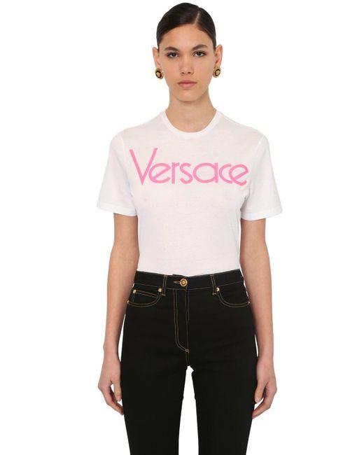 Versace 80's 刺繍ロゴ ジャージーtシャツ White