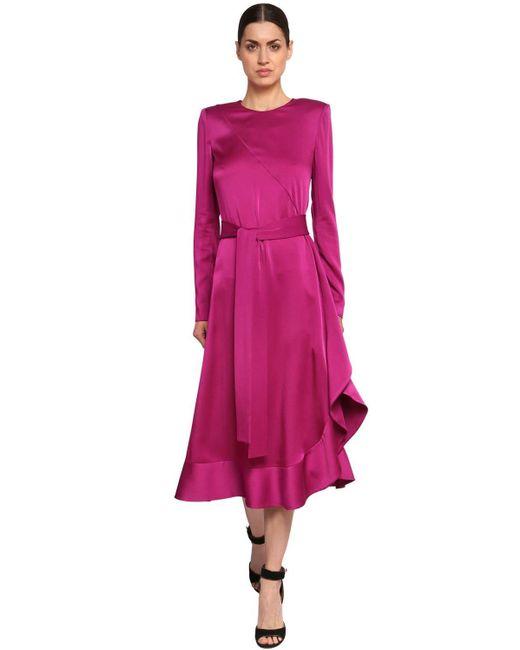Платье Из Атласного Крепа Givenchy, цвет: Purple