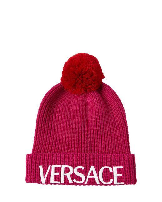 Шапка С Логотипом Из Шерсти Versace, цвет: Pink