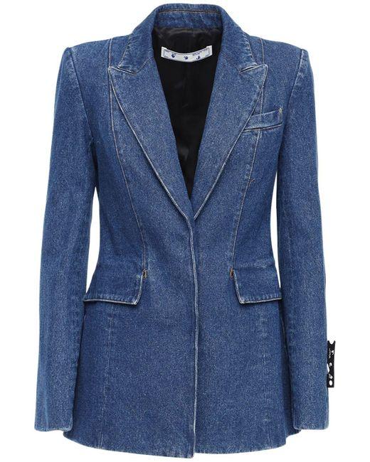 Пиджак Из Хлопкового Деним Off-White c/o Virgil Abloh для него, цвет: Blue