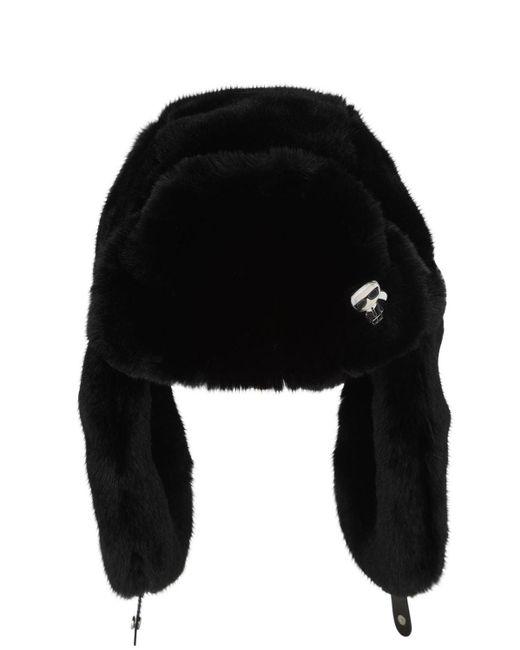 Karl Lagerfeld Karl Ikonik エコファーハット Black