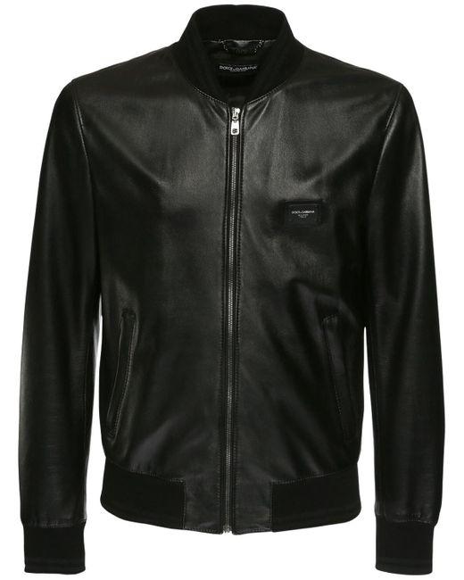 Куртка-бомбер Из Кожи Dolce & Gabbana для него, цвет: Black