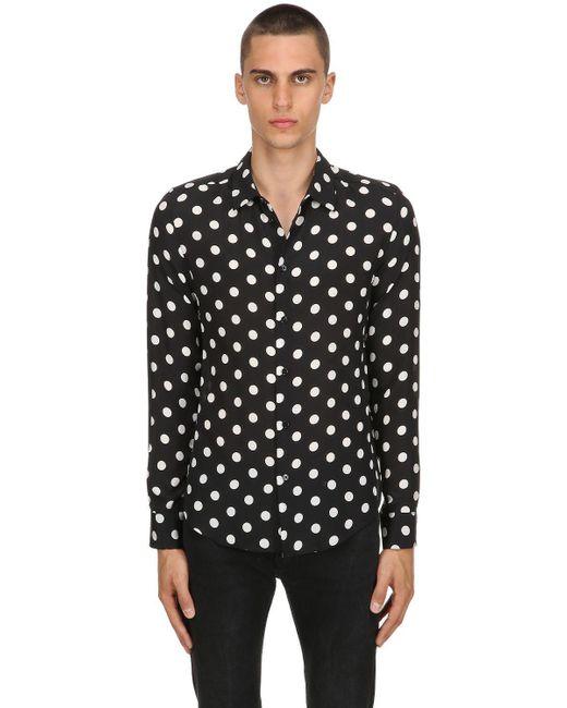 Garçons Infideles - Black Bluse Aus Seidengeorgette Mit Punkmuster for Men - Lyst