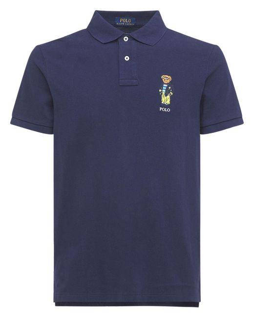Рубашка-поло Из Хлопка Polo Ralph Lauren для него, цвет: Blue