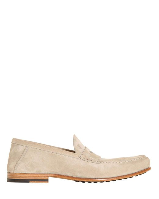 Tod's | White Suede Penny Loafers for Men | Lyst