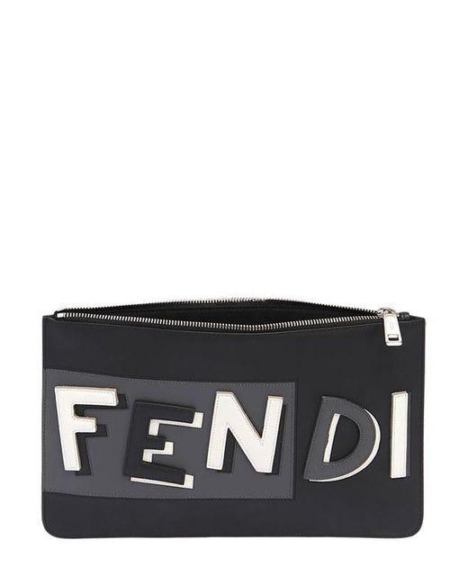 メンズ Fendi Vocabulary 3dロゴ レザーポーチ Black