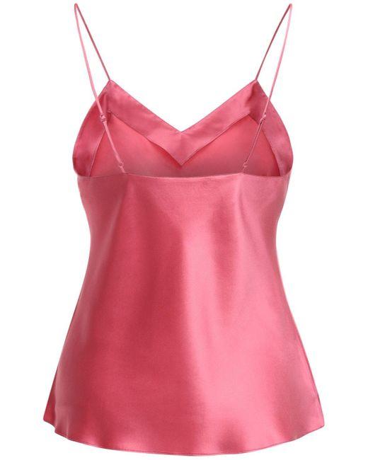 Luna Di Seta シルクサテンキャミソールトップ Pink