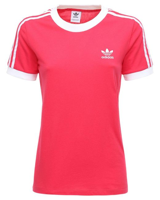 Adidas Originals 3 Stripes コットンtシャツ Pink