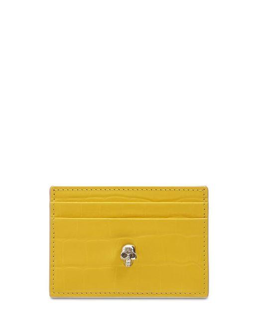 Кожаная Кредитница Alexander McQueen, цвет: Yellow