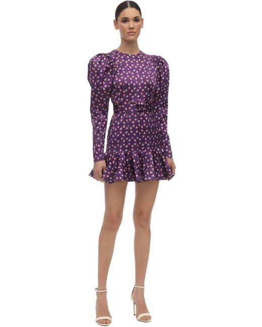 Платье Из Атласа С Принтом ROTATE BIRGER CHRISTENSEN, цвет: Purple