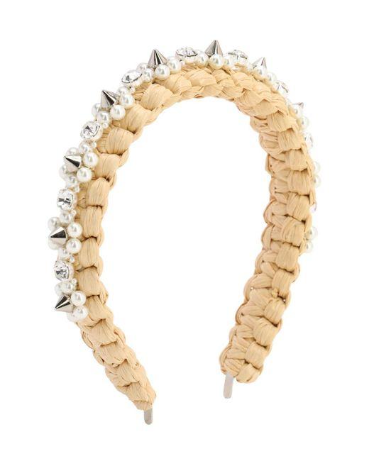 Simone Rocha Metallic Embellished Raffia Headband