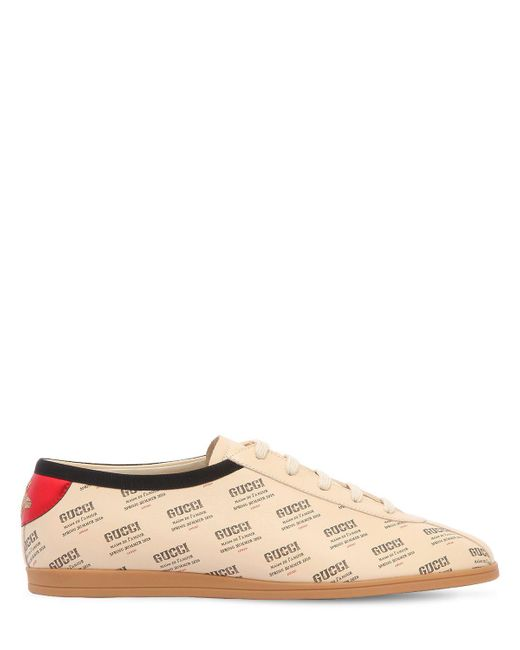 Gucci - Natural Falacer Logo Printed Leather Sneakers for Men - Lyst