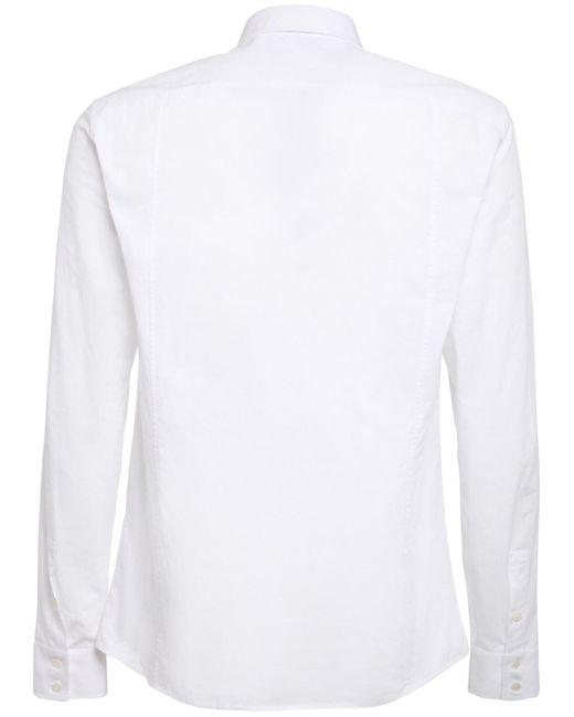 Хлопковая Рубашка С Вышивкой Balmain для него, цвет: White