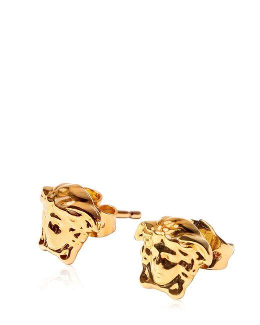 Versace Metallic Medusa Stud Earrings for men