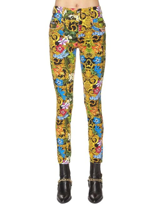Versace Jeans プリントコットンデニムジーンズ Blue