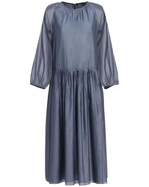 """Max Mara Blue Midi-kleid Aus Baumwolle Und Seide """"adatti"""""""